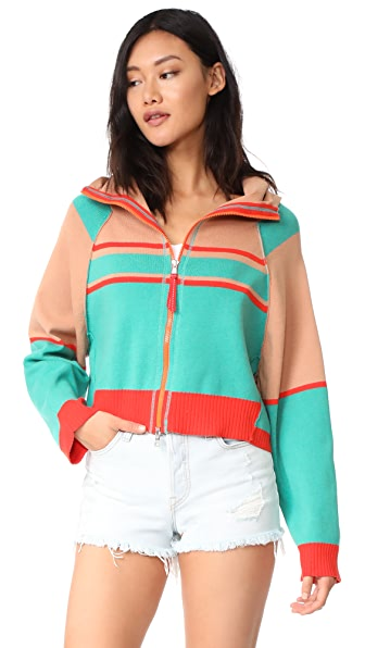 Free People Stripes For Days Zip Up - Multi
