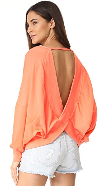 Free People Back It Up Pullover - Coral
