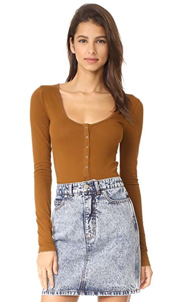 Free People Simply Henley Bodysuit