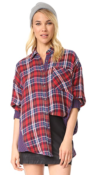 Free People One of the Guys Button Down - Red Combo