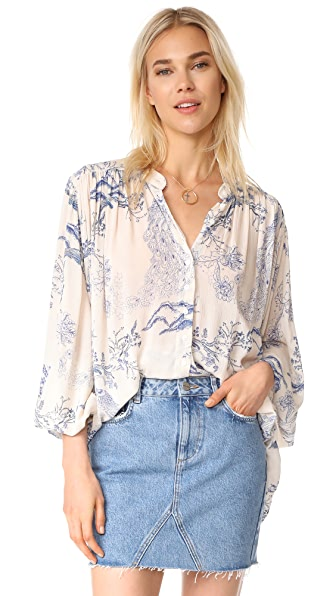 Free People Metallic Blooms Top