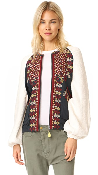 Free People Two Faced Embroidered Jacket In Ivory