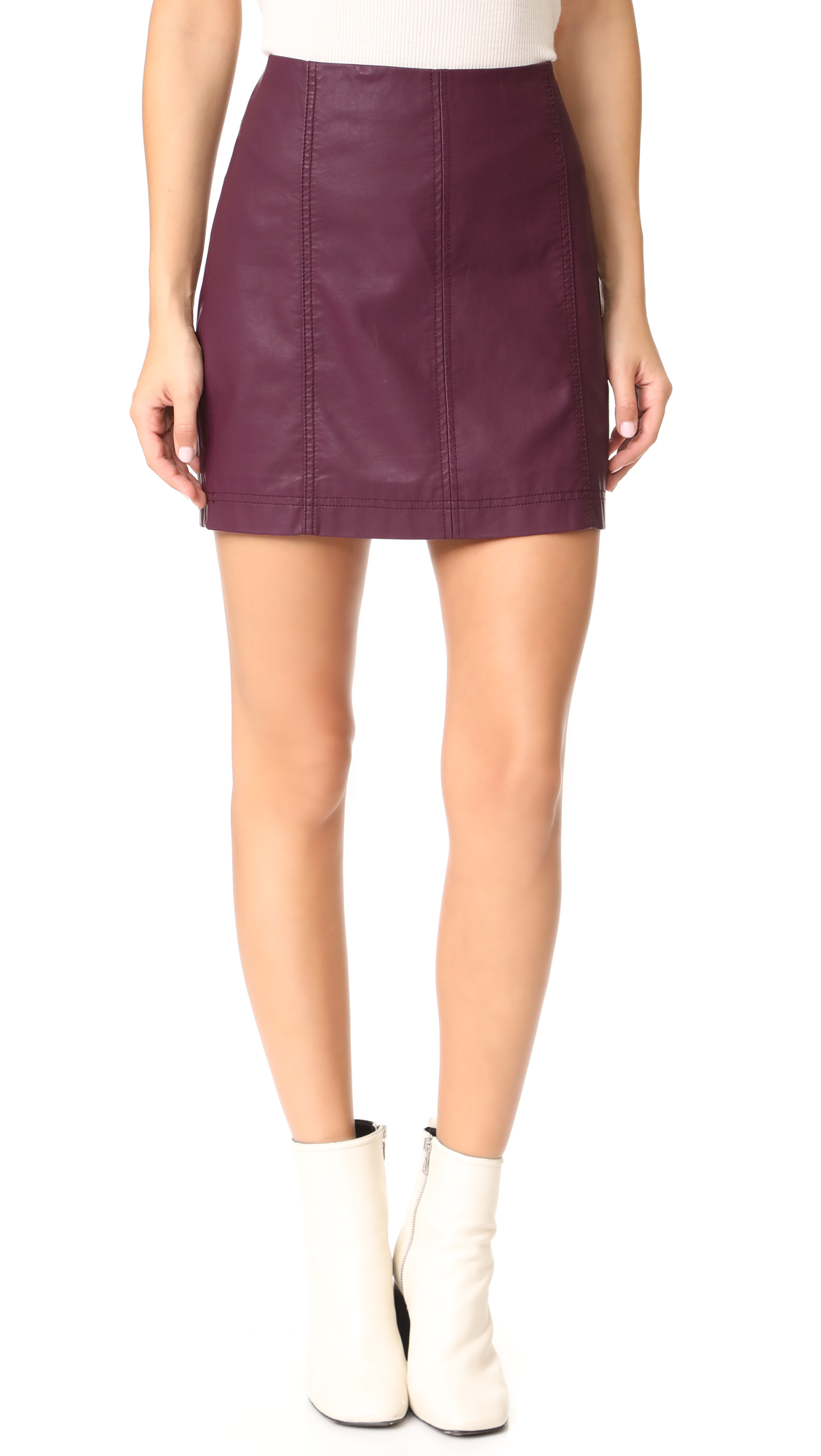 Free People Modern Femme Vegan Miniskirt - Wine