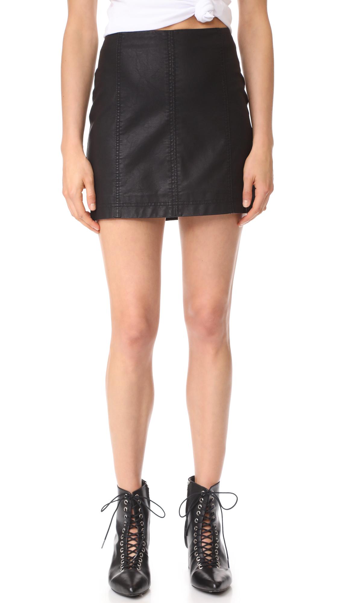 Free People Modern Femme Vegan Miniskirt - Black