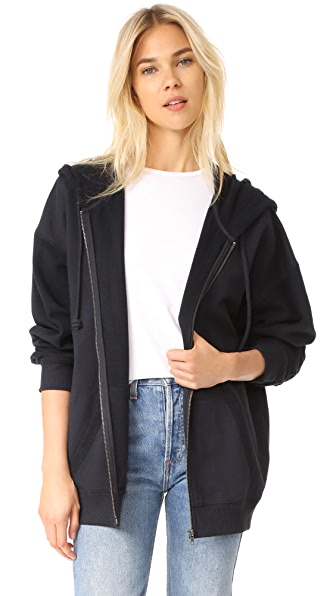 Free People Easy Track Top Hoodie In Black