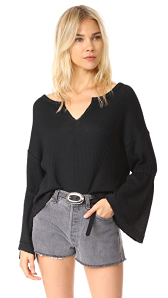 Free People Dahlia Thermal Tee - Black