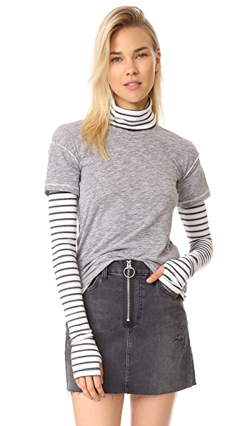 Free People Piper Twofer Tee In Grey