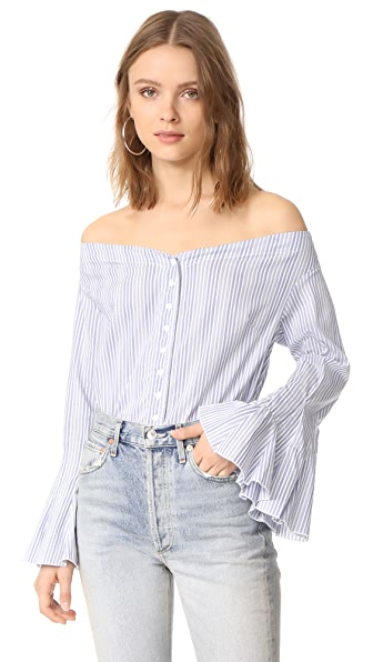 Free People March To The Beat Top In Blue Combo