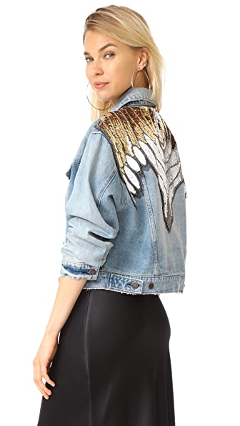 Free People Glam Embellished Denim Jacket - Indigo Blue