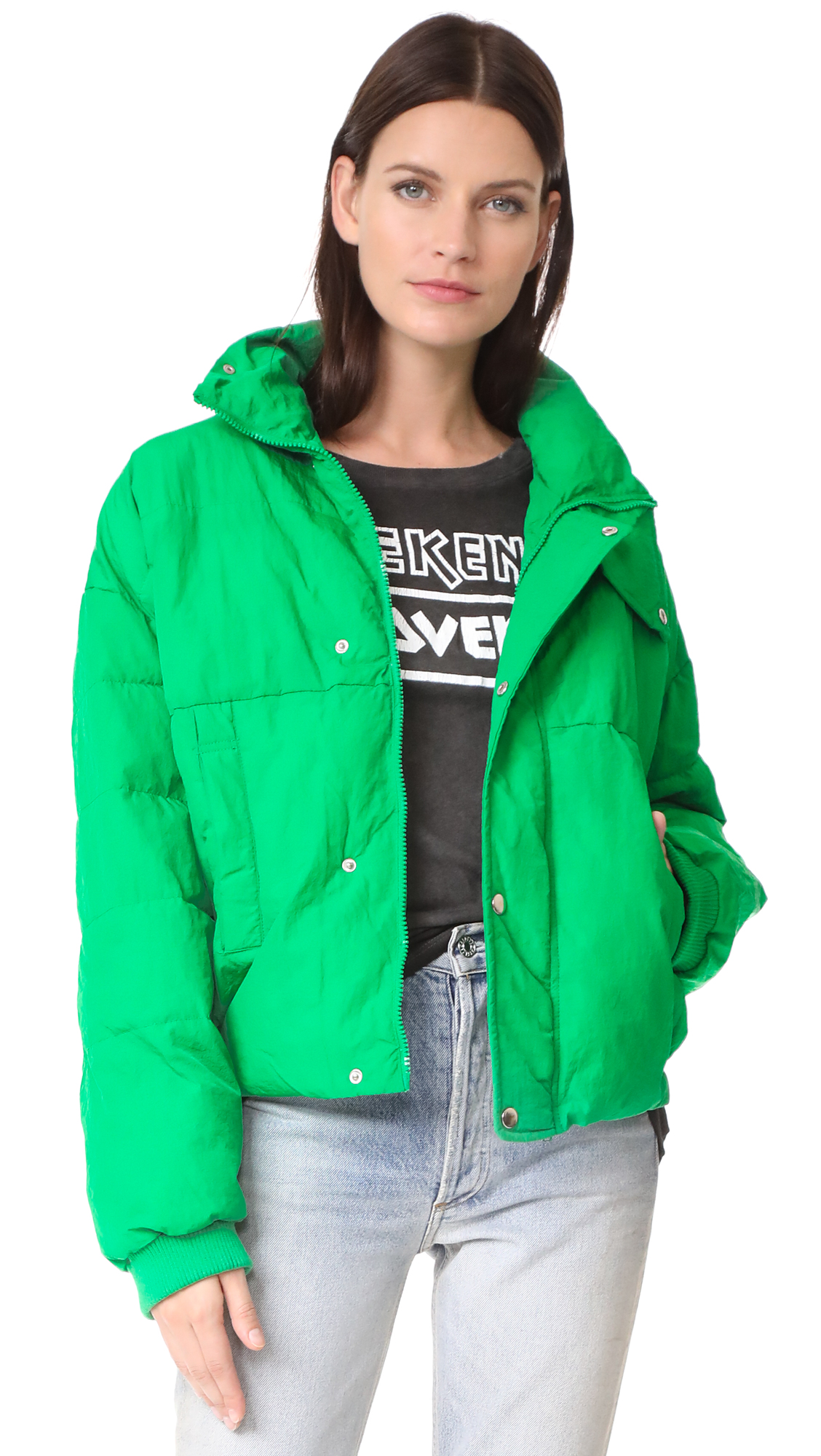 Free People Slouchy Cropped Puffer Coat - Green