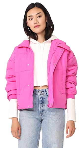 Free People Slouchy Cropped Puffer Coat In Pink