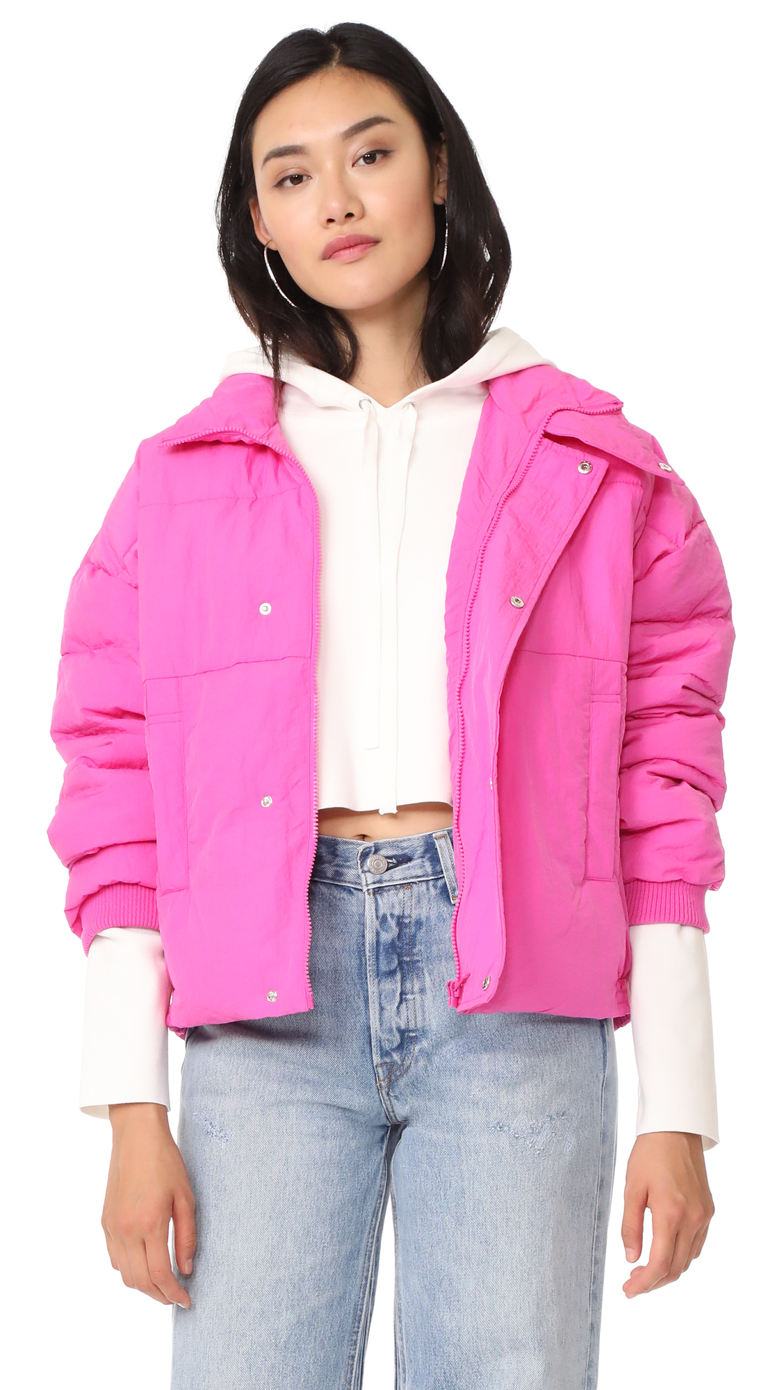 Free People Slouchy Cropped Puffer Coat - Pink