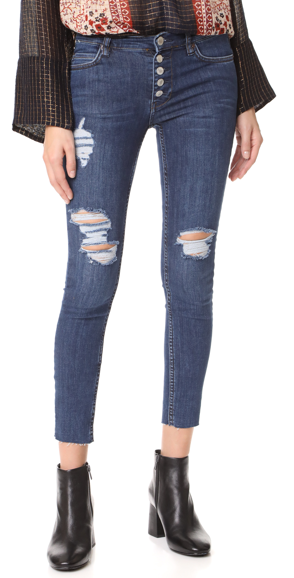 Destroyed Reagan Raw Jeans Free People