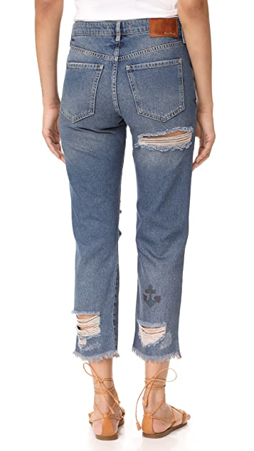Free People Tattooed Boyfriend Jeans