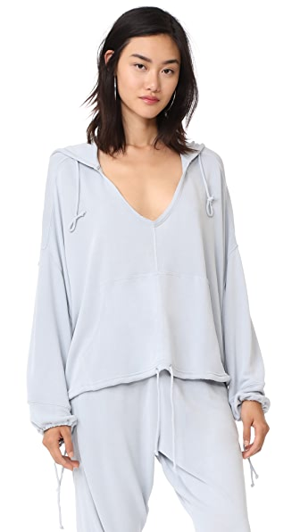 Free People Yella Hoodie Top In Light Grey