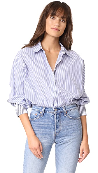 Free People Lakehouse Button Down Shirt - Blue