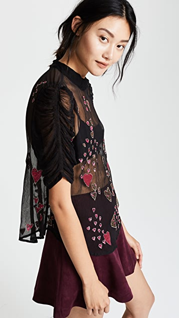 Free People So in Love Embroidered Blouse