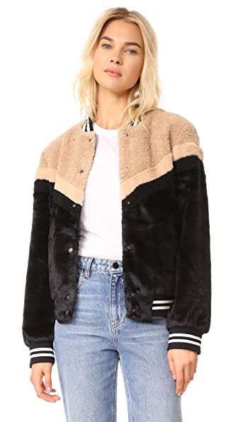 Free People Mixed Faux Fur Bomber at Shopbop