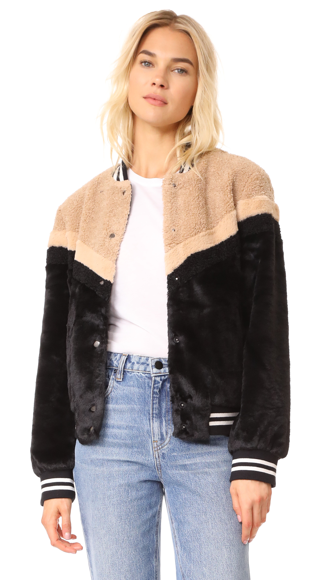 Free People Mixed Faux Fur Bomber - Black