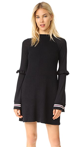 Free People Zou Bisou Knit Mini Dress - Black Combo