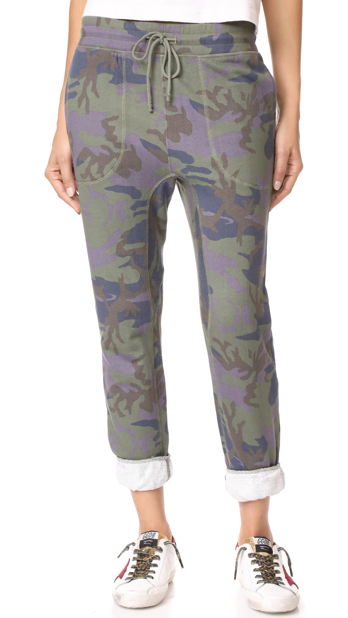 Free People Printed Camo Scout Joggers - Army