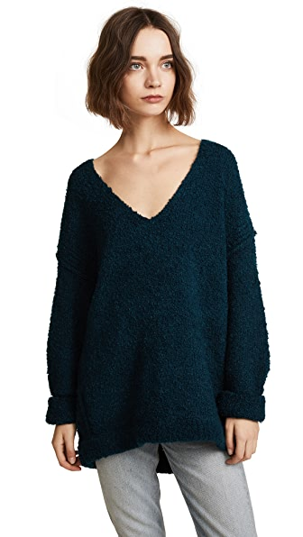 Free People Lofty V Neck Dark Turquoise Modesens