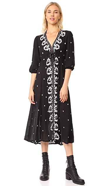 Free People Embroidered V Maxi Dress