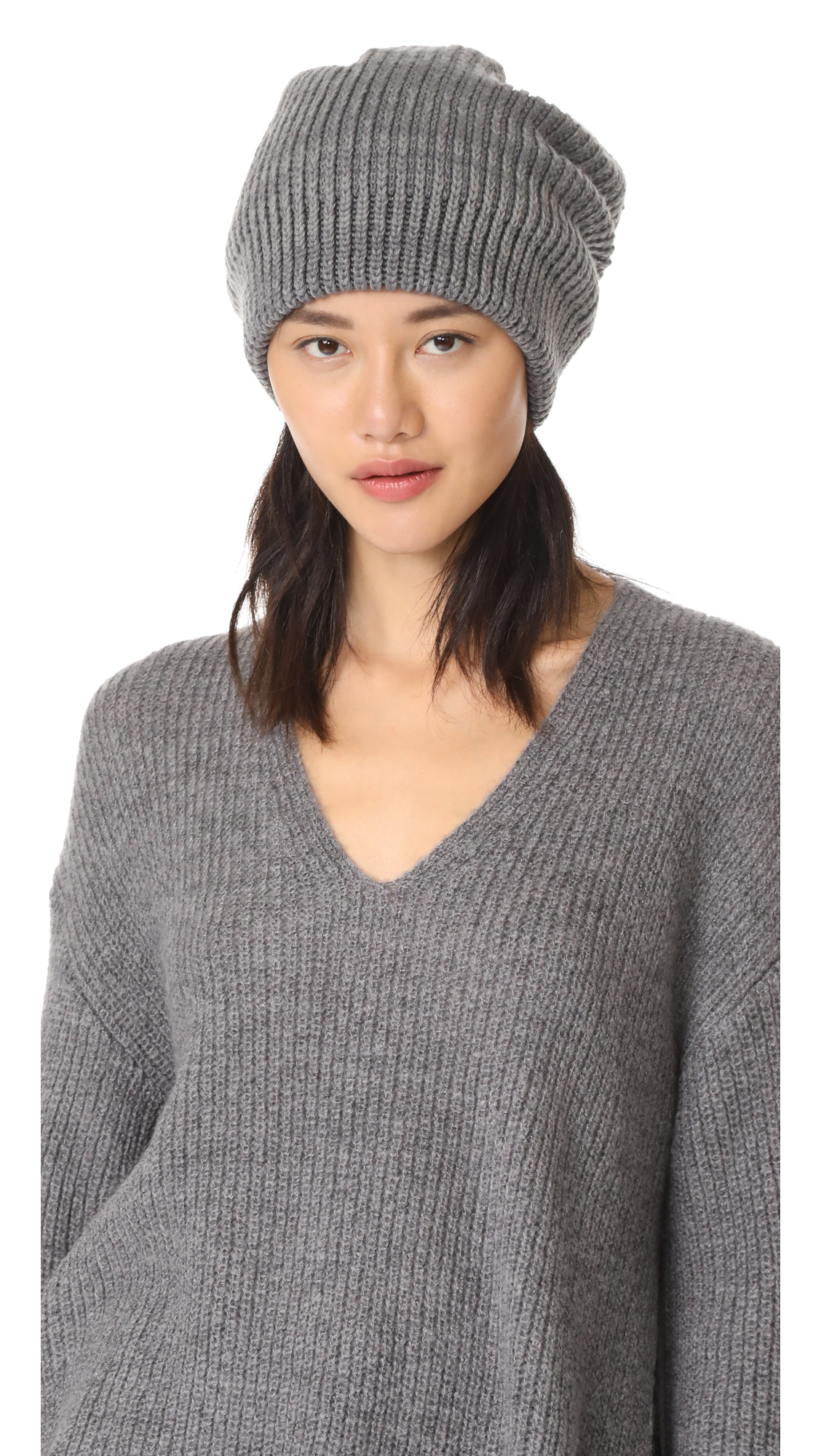 Free People All Day Everyday Slouchy Beanie Hat - Grey