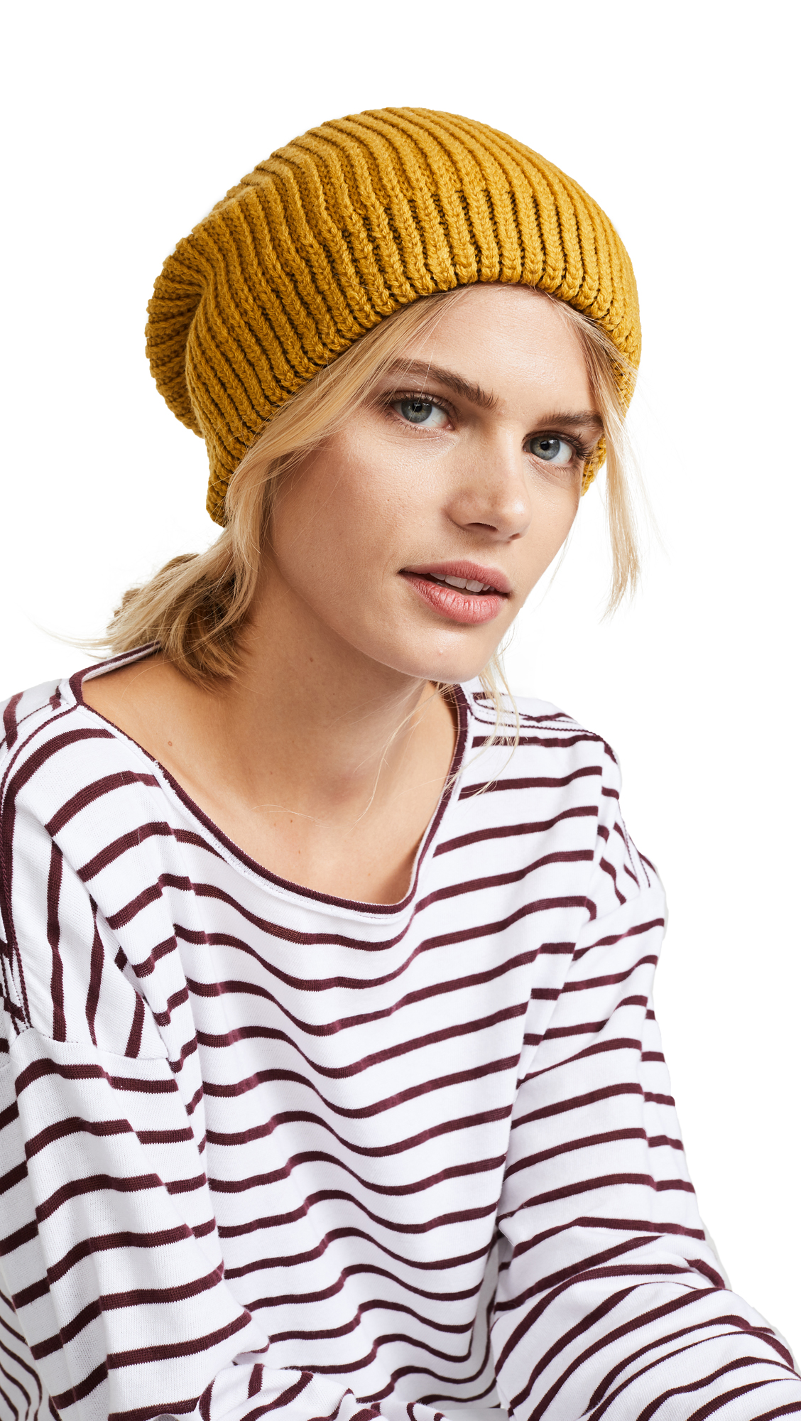 Free People All Day Everyday Slouchy Beanie Hat - Gold