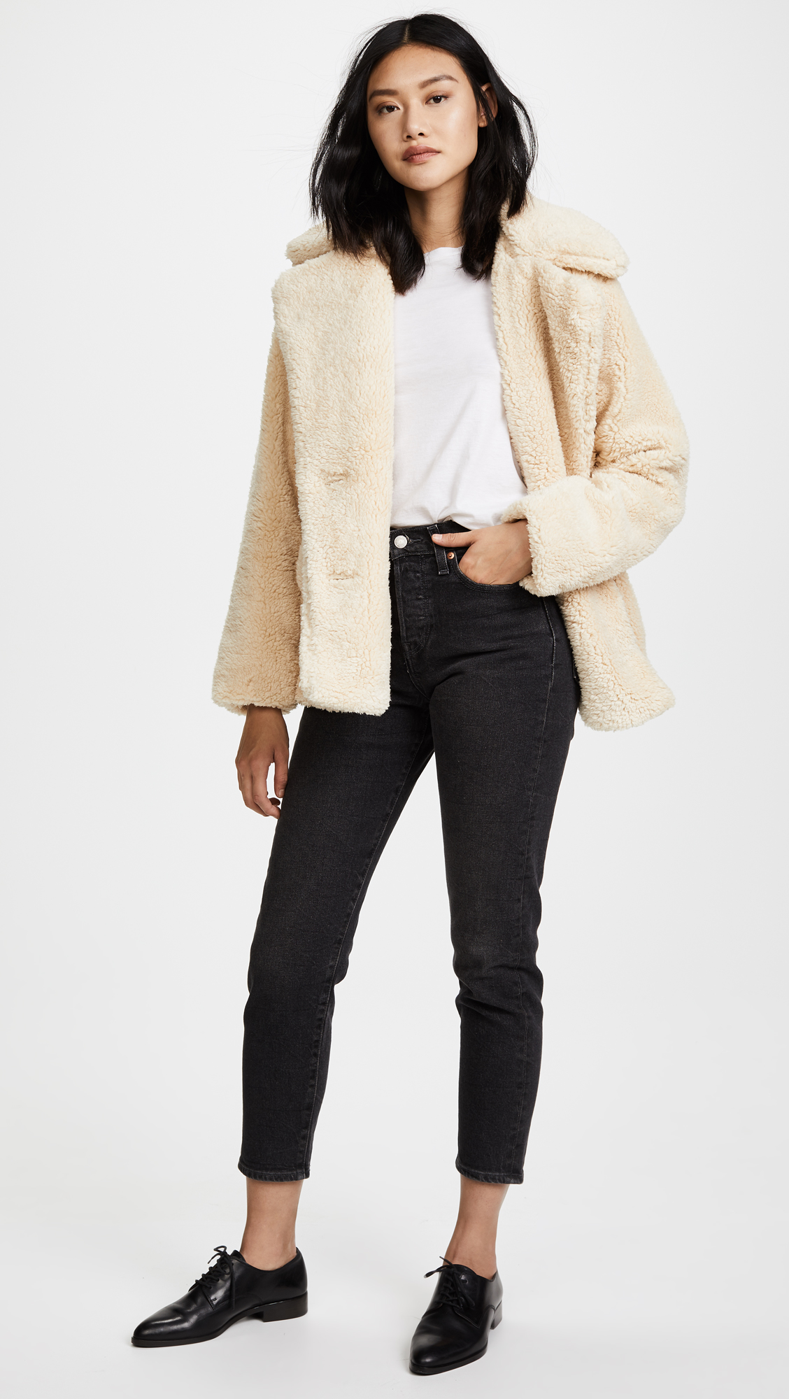 91a39bca246a Free People Notched Teddy Pea Coat
