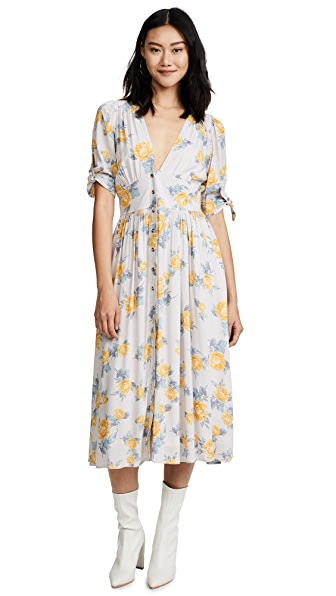 Free People Love of My Life Printed Dress - Neutral Combo