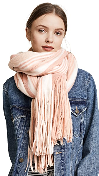 Free People Kolby Striped Fringe Scarf In Pink