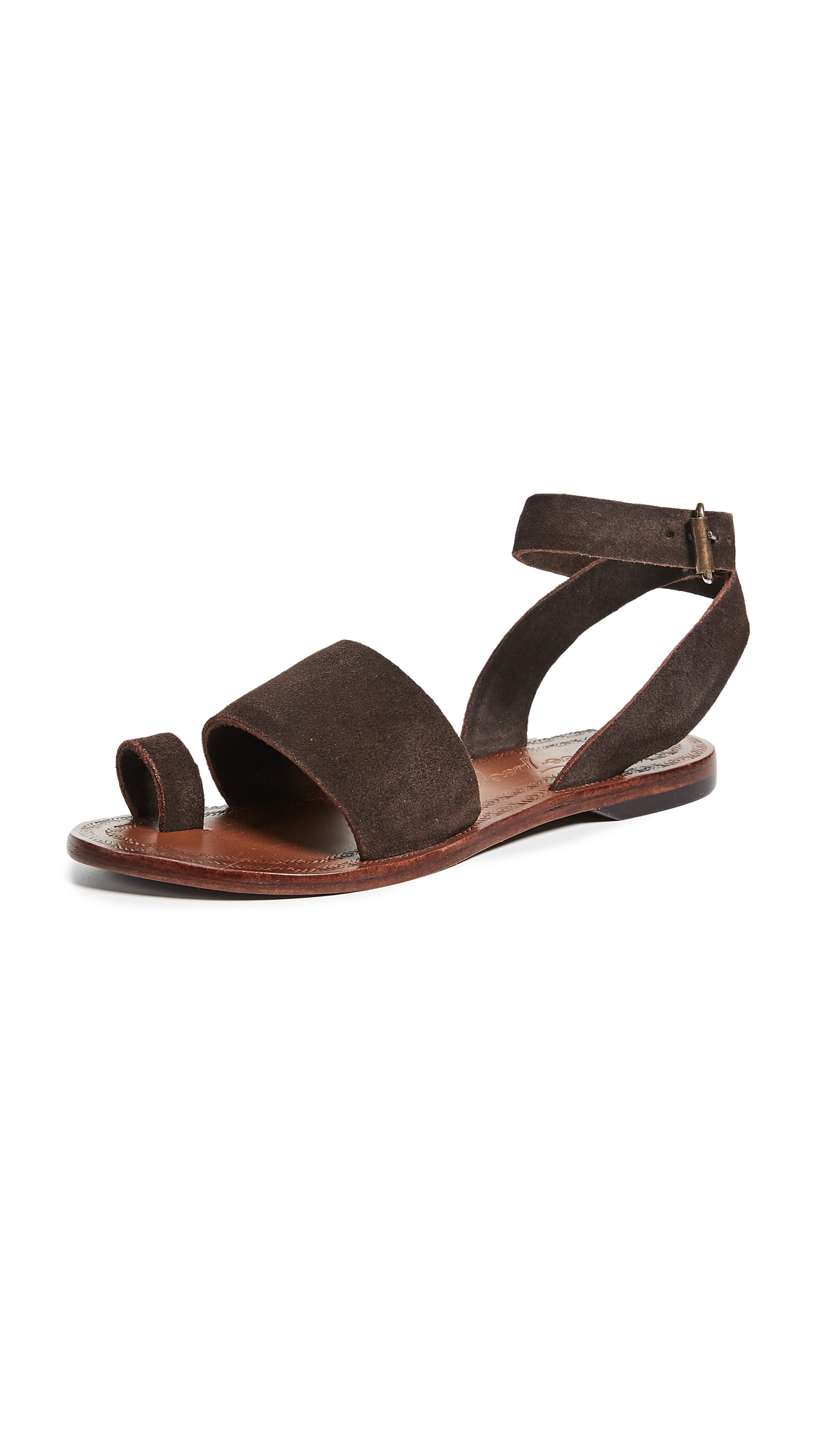 Free People Torrence Flat Sandals - Chocolate