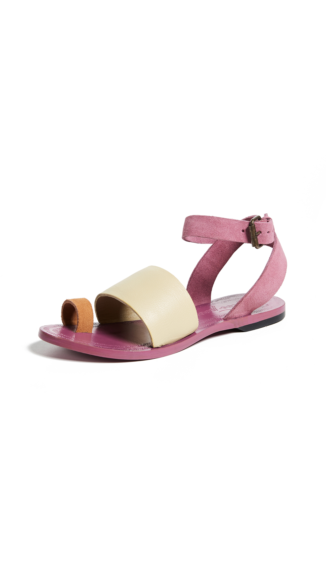 Free People Torrence Flat Sandals - Pink Combo