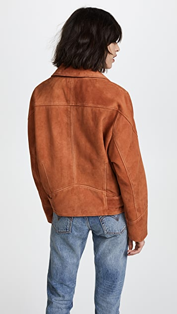 Free People Drapey Suede Moto Jacket