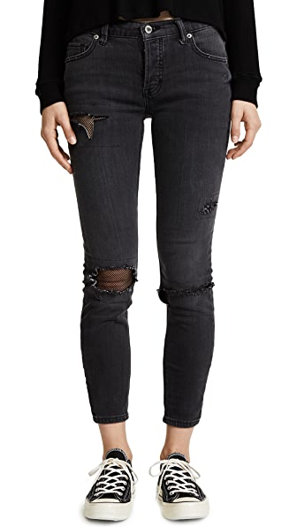 Free People Fishnet Skinny Jeans In Black