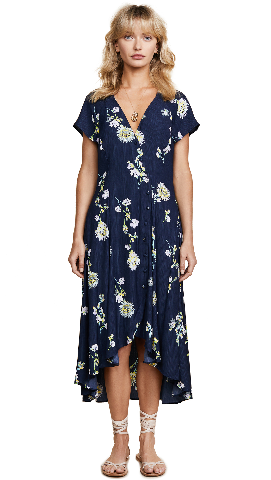 Free People Lost in You Midi Dress In Blue Combo