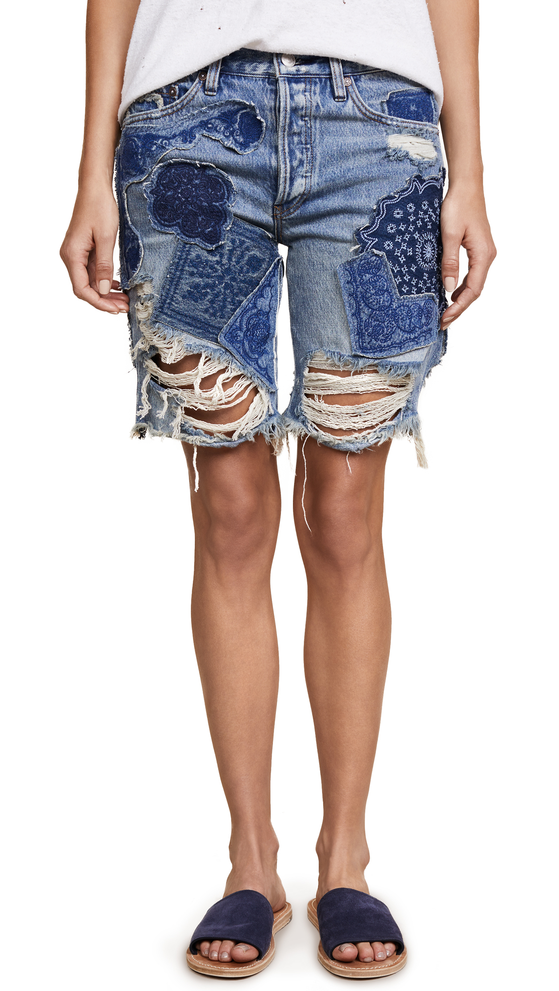 Free People Heart Breaker Patched & Embroidered Shorts - Blue
