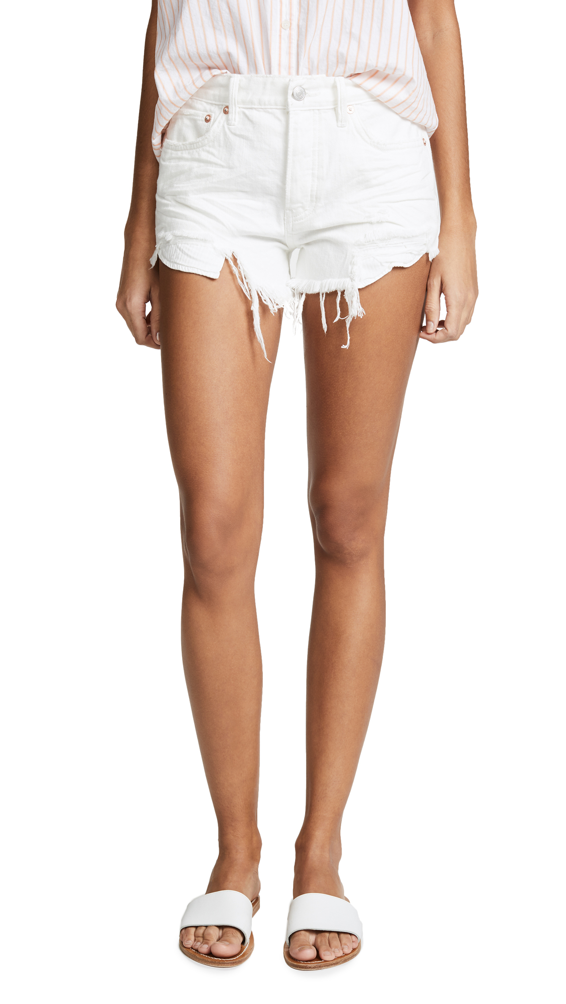 c66bcd3718d4b Free People Loving Good Vibrations Cutoff Shorts In White