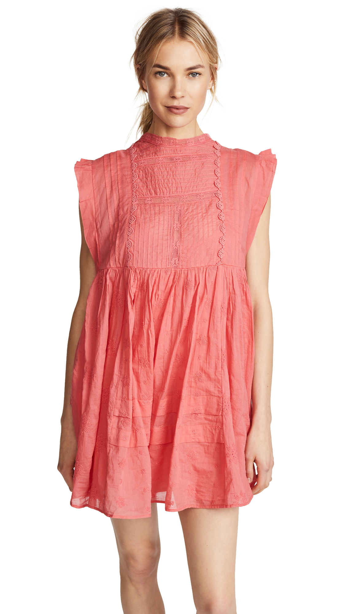 Free People Nobody Like You Embellished Mini Dress - Coral