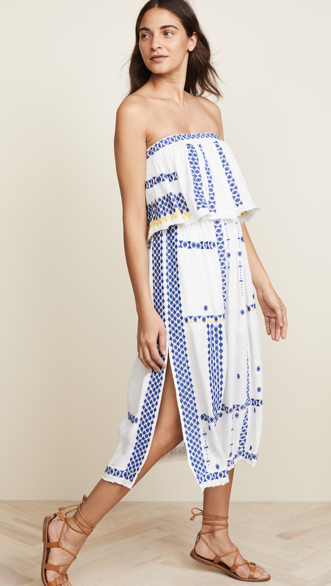 Wild Romance Embroidered Dress in White. - size M (also in S,XS) Free People