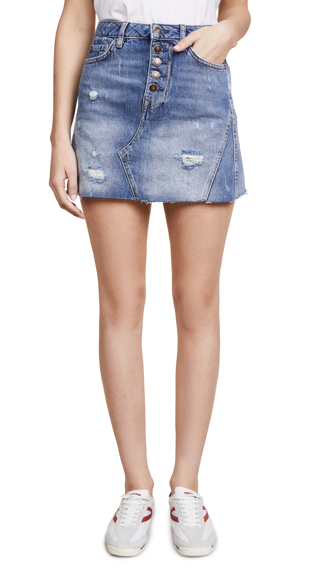 Free People Denim A-Line Skirt In Blue