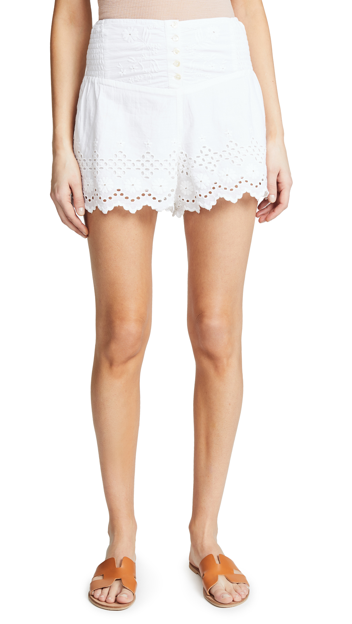 Free People Sweet Like Candy Eyelet Shorts In White