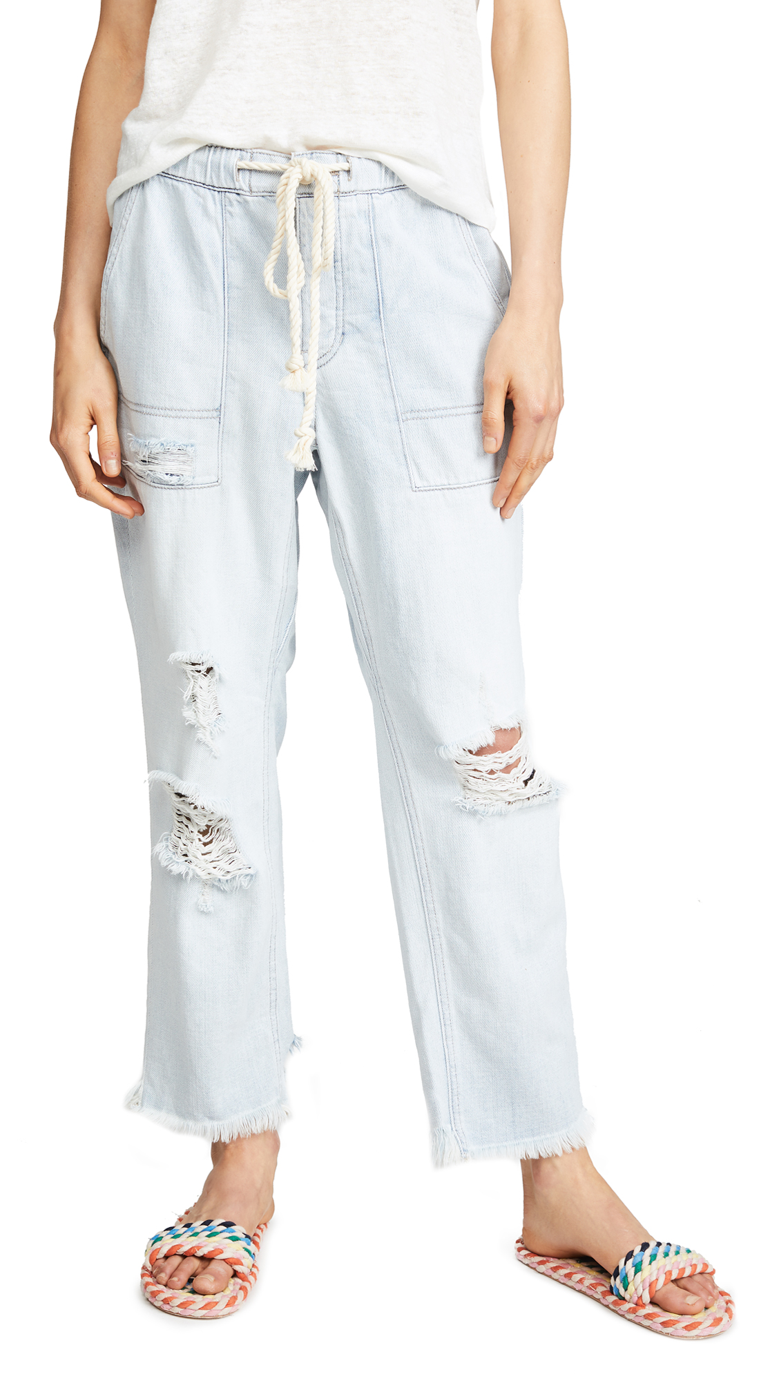 Free People Northern Sky Pull On Crop Pants In Blue