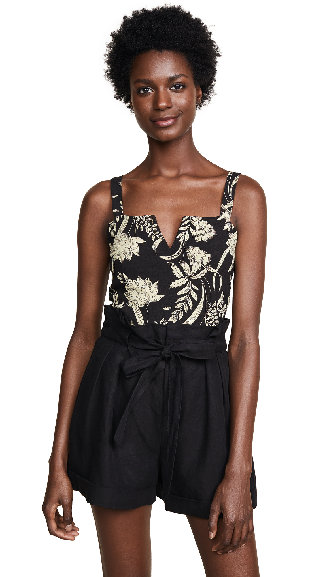 Free People Pippa V-Wire Printed Bodysuit In Black Combo