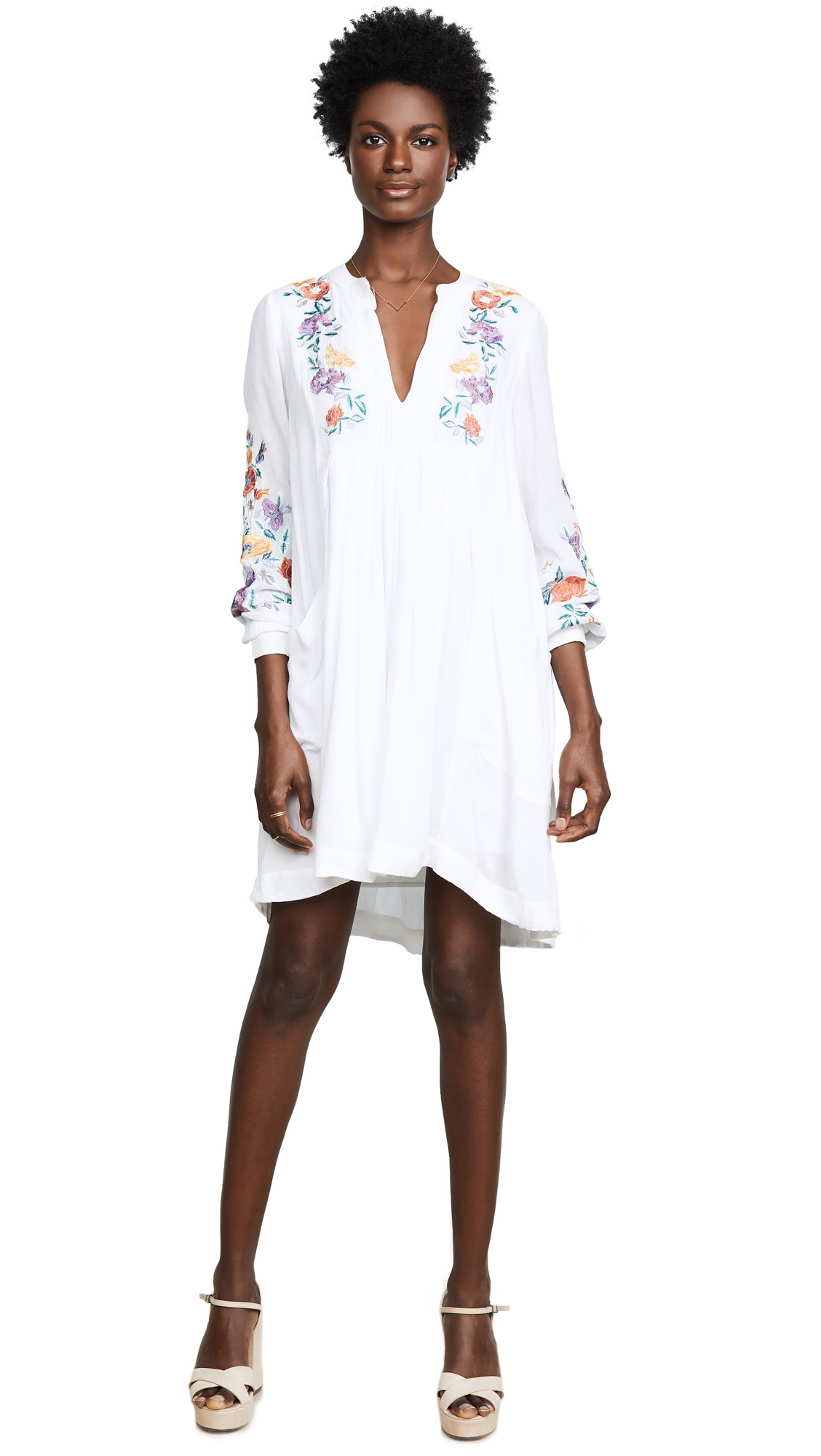 Free People Mia Gauze Embroidered Mini Dress In White