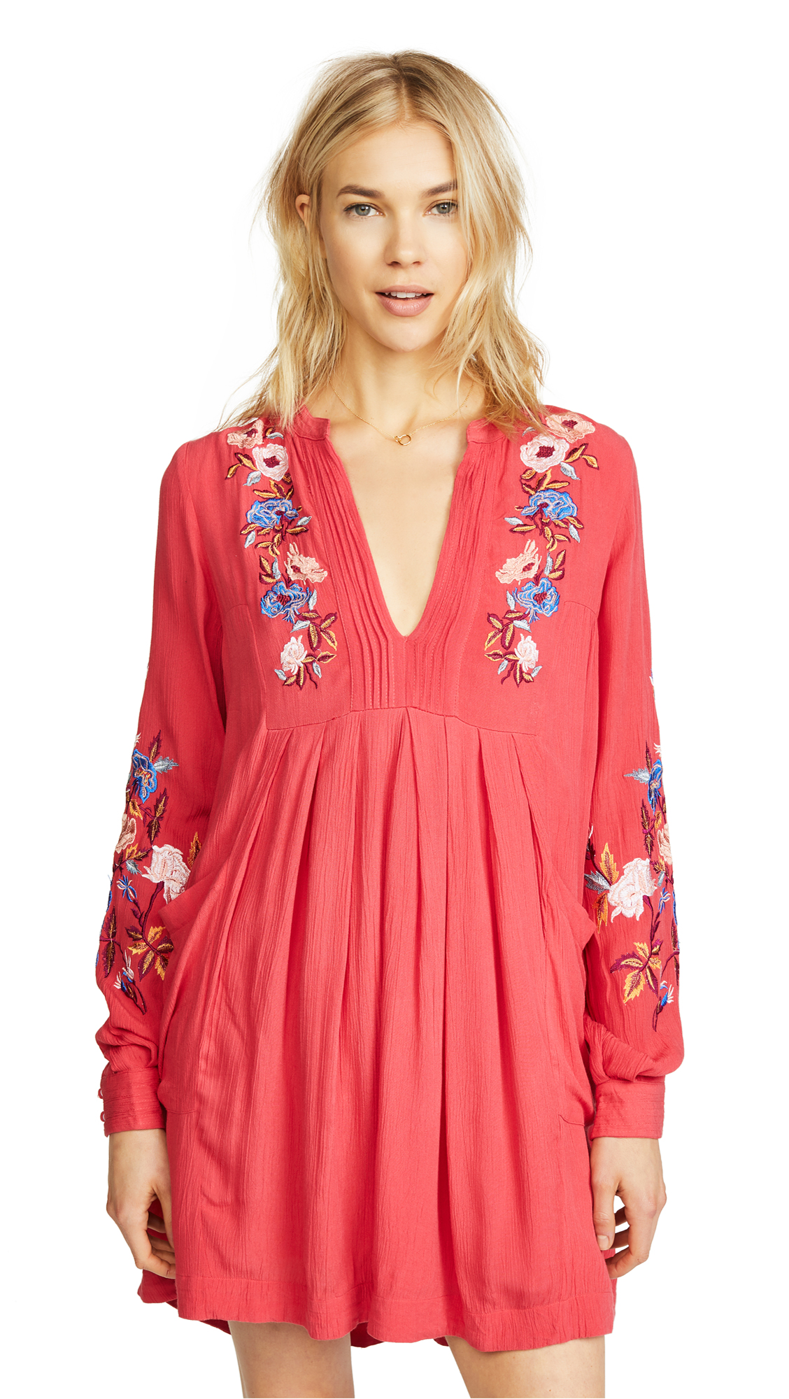 Free People Mia Gauze Embroidered Mini Dress