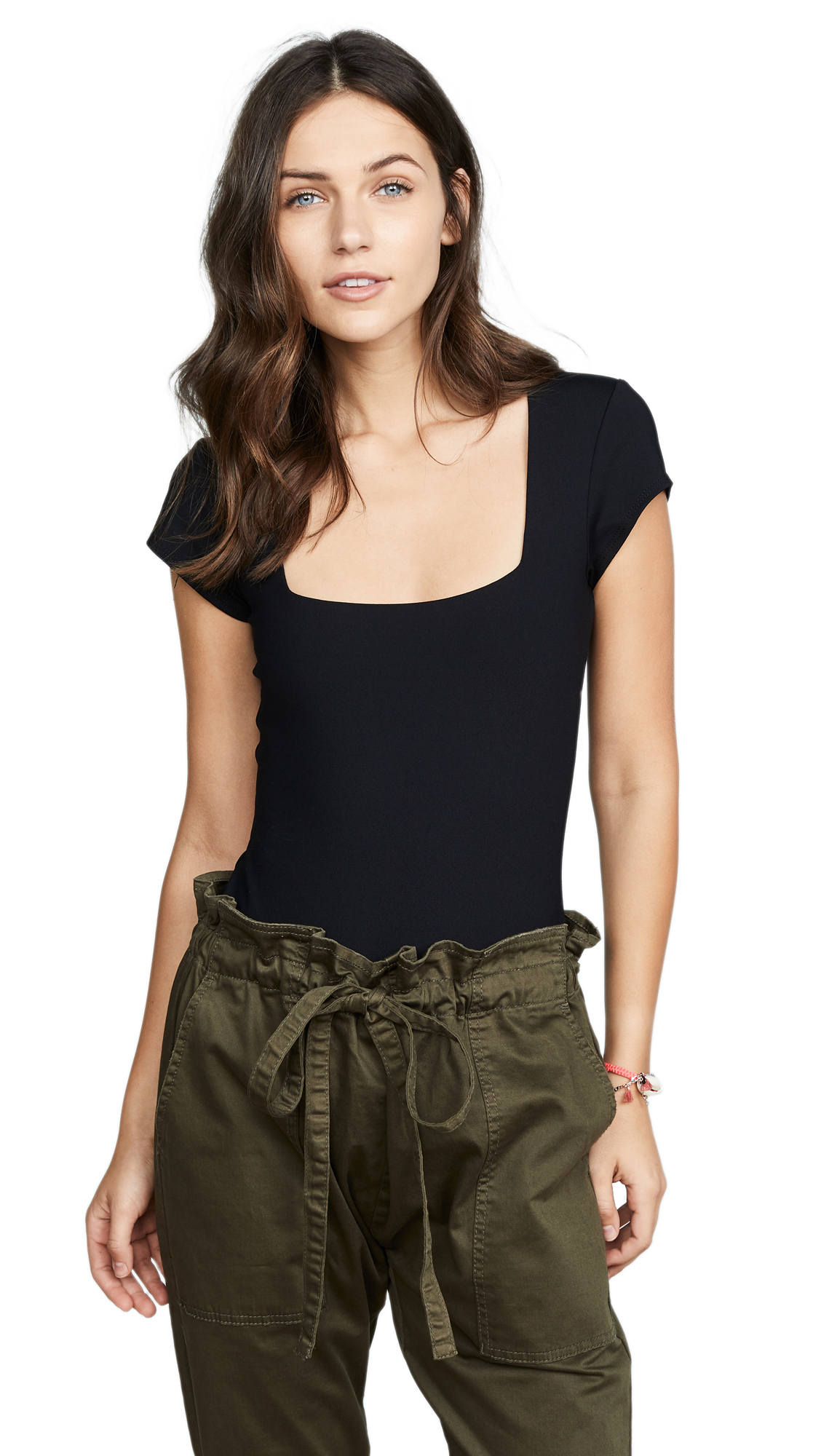 Free People Square Eyes Thong Bodysuit In Black