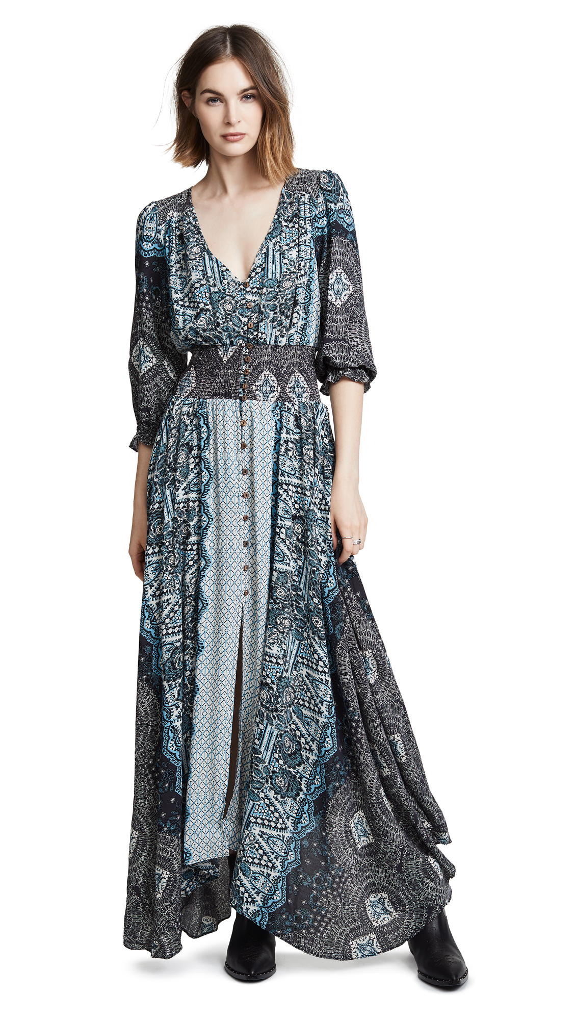 Free People Mexicali Rose Maxi Dress In Black