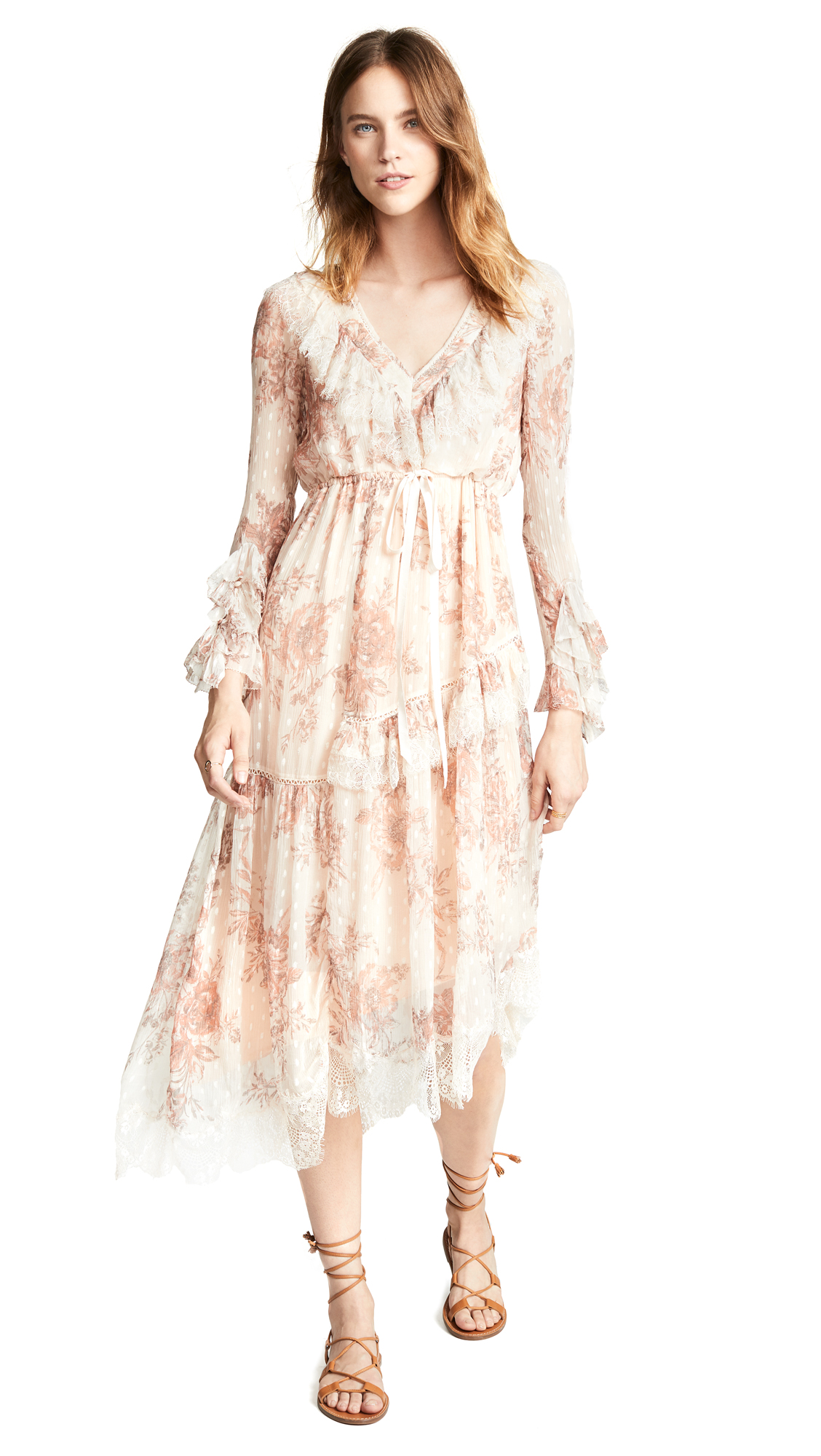 Free People Eliza Midi Dress In Neutral Combo